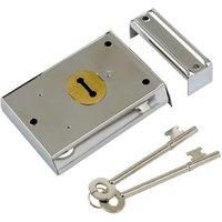 Yale 46mm Chrome effect Metal Rim lock  (H)76mm (L)102mm