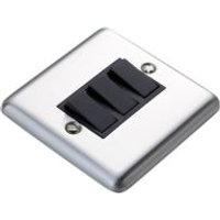 Volex 10A 2-Way Triple Brushed Steel Light Switch