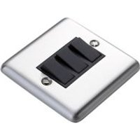 Volex 10A 2 way Brushed stainless steel effect Triple Light Switch