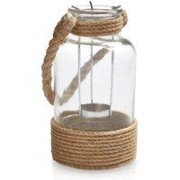 Glass & Rope Hurricane Jar  Medium
