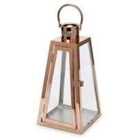 Copper Effect Tapered Metal Lantern  Small