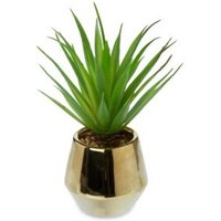 Gold effect Plastic Pot with artificial plant