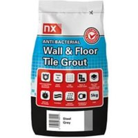 NX Anti-bacterial Ready mixed Steel grey Floor & wall Tile Grout 5kg