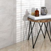Illusion White Gloss Patterned Stone effect Ceramic Wall & floor tile (L)360mm (W)275mm Sample