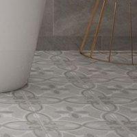 Perla Grey Patterned effect Ceramic Floor tile Pack of 11 (L)300mm (W)300mm