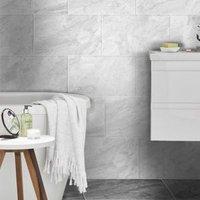 Haver Light grey Matt Travertine effect Ceramic Wall & floor tile Pack of 6 (L)600mm (W)300mm