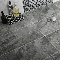 Haver Anthracite Matt Travertine effect Ceramic Wall & floor tile Pack of 6 (L)600mm (W)300mm
