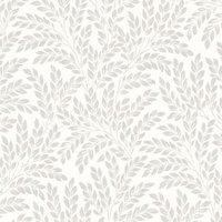 Fine Décor Jade Soft white Leaf Wallpaper