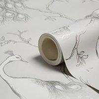 Fine décor Empress Pale grey Foliage & birds Glitter Wallpaper