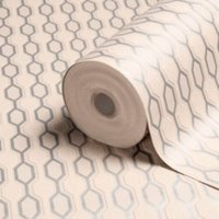 Graham & Brown Kelly Hoppen Silver effect & taupe Geometric Metallic Wallpaper