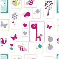 Lemon Ribbon Green & Pink Animal Sanctuary Children's Wallpaper