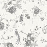 Graham & Brown Julien Macdonald Exotica White Floral & birds Silver effect Textured Wallpaper