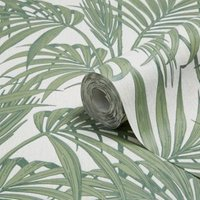Graham & Brown Julien Macdonald Honolulu Palm green Foliage Glitter effect Embossed Wallpaper