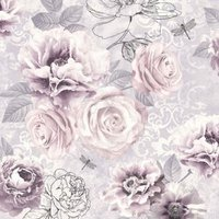 Graham & Brown Fresco Pink purple & grey Floral Wallpaper