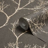 Graham & Brown Brown Icy trees Gold effect Textured Wallpaper