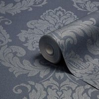 Graham & Brown Gothica Navy & silver Metallic Wallpaper