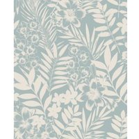 Boutique Alice Duck egg Leaf Metallic effect Embossed Wallpaper