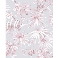 Boutique Tropique Pink Leaf Metallic effect Smooth Wallpaper