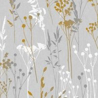 Superfresco Easy Grey & yellow Floral Textured Wallpaper