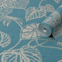 Graham & Brown Boutique Teal Betel Metallic effect Textured Wallpaper