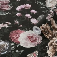 Graham & Brown Superfresco Easy Black & pink Floral Metallic effect Smooth Wallpaper