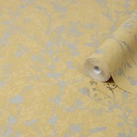 Graham & Brown Boutique Yellow Silhouette spring Metallic effect Textured Wallpaper