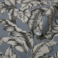 Graham & Brown Boutique Petrol blue Leaves Gold effect Textured Wallpaper
