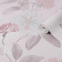 Graham & Brown Boutique Pink Zara Metallic effect Textured Wallpaper