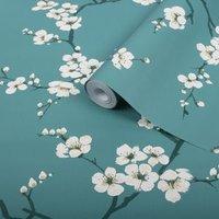 'Graham & Brown Superfresco Easy Teal Blossom Flower Wallpaper