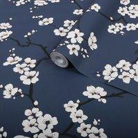 'Graham & Brown Superfresco Easy Navy Blossom Flower Wallpaper