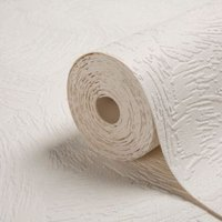 Graham & Brown Superfresco White Chunky Plaster Paintable Wallpaper