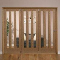 Saxton Vertical 3 panel Oak veneer Glazed Internal Folding Door LH  (H)2035mm (W)2146mm
