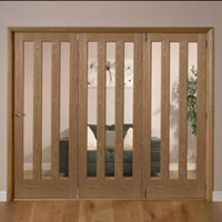 Saxton Vertical 3 panel Oak veneer Glazed Internal Folding Door RH  (H)2035mm (W)2374mm