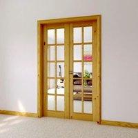 10 Lite Glazed Primed Knotty pine Internal French Door set  (H)2030mm (W)760mm