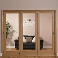 1 Panel Shaker 1 Lite Oak Veneer Glazed Internal Folding Door LH  (H)2035mm (W)2374mm