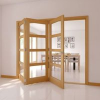 4 Panel 4 Lite Oak veneer Glazed Internal Folding Door  (H)2035mm (W)2146mm