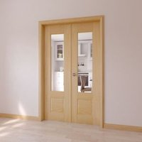1 Lite Clear Glazed 2 Panel Internal French Door Set  (H)2020mm (W)1230mm