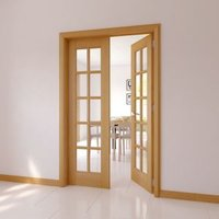 10 Lite Glazed Oak veneer Internal French Door set  (H)2030mm (W)770mm
