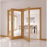 Cottage 1 Lite Oak veneer Natural Smooth Glazed Internal Tri-fold Door LH  (H)2035mm (W)2374mm