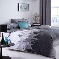 City Scape City Landscape Black & White Single Bed Set