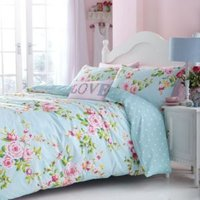 Canterbury Rose Floral Blue Double Bed Set