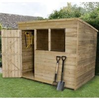 8X6 Pent Overlap Wooden Shed Base Included