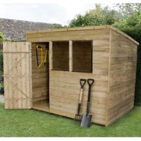 8X6 Pent Overlap Wooden Shed with Assembly Service Base Included