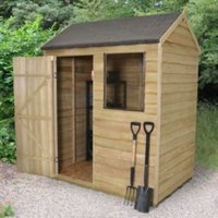 6X4 Reverse Apex Overlap Wooden Shed Base Included