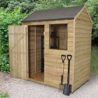 6x4 Forest Reverse apex Overlap Wooden Shed With assembly service