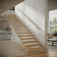 Modern Polished Stainless steel Rounded Handrail kit (L)3.6m (W)40mm
