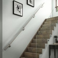 Modern Brushed Stainless steel Rounded Handrail kit (L)3.6m (W)40mm