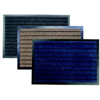 Primeur Stripe barrier Blue beige & grey Polypropylene Door mat (L)1.2m (W)0.8m