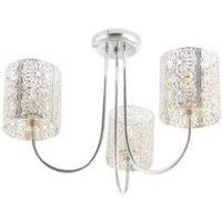 Krishna Filigree Metalwork Bright Nickel Effect 3 Lamp Semi Flush Ceiling Light