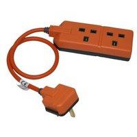 Masterplug 2 socket 13A Orange Extension lead 0.5m